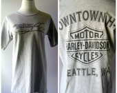 Gray Harley Davidson Tee Vintage 90s Seattle Motorcycle Tshirt Womens Size L/XL Extra Large Short Sleeve Moto Shirt 1990s Hipster Grunge Top