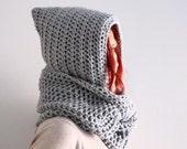 Light grey hooded infinity scarf hood circle cowl, Calypso Hood, winter fashion, made to order