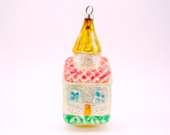 1960s Figural Cottage Christmas Ornament Mold Blown Vintage Glass House