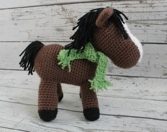 Crochet Horse Stuffed Animal, Brown Horse Amigurumi, Plush Animal MADE TO ORDER