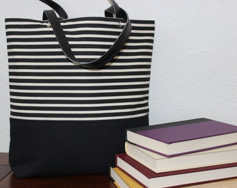 Black and Cream Striped Slender Canvas Tote Handbag with Black Canvas Bottom and Black Faux Leather Straps