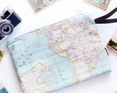 Map Travel Purse, Airplane Size Handbags, Map Clutch Bag, Blue World Map Zipper Pouch, Atlas Handbag for Travel Lovers, Clutch with Strip