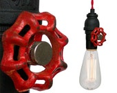 Industrial Upcycled Valve Pipe Pendant Light- Red