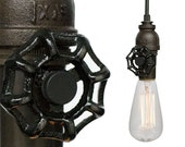 Industrial Upcycled Valve Pipe Pendant Light- Bronze