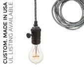 Dark Sweater Cord Bare Bulb Pendant Light