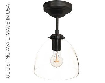 Black Hand Blown Glass Pendant Light- MADE IN USA