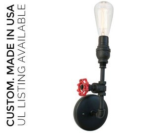 Vintage Upcycled Valve Pipe Wall Sconce Light- Black