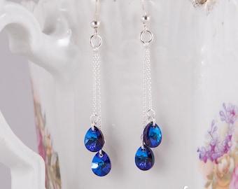 Delicate dangle earrings with purple Heliotrope Swarovski crystals, blue, purple, dramatic crystal teardrops, small delicate earrings