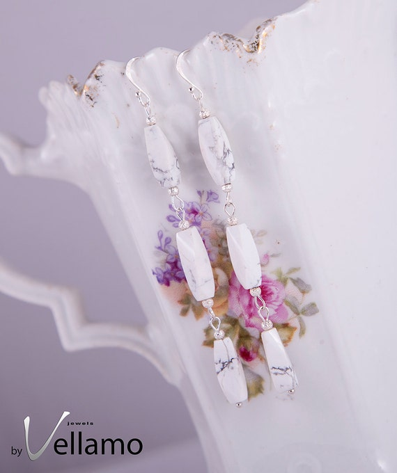 Sterling silver earrings with white high quality howlite gemstones, long earrings with twisted shaped white howlite, long white earrings