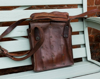 Vintage Leather Bag, Weapon Bag, Tool Bag, WW1 weapons bag, wonderful vintage leather, Metro Style, Fathers Day