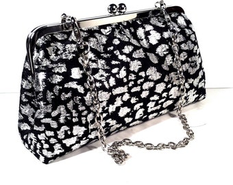 Black Silver Evening Clutch Purse, 8x5x2.5 w/ 20 inches Silver Chain Handle