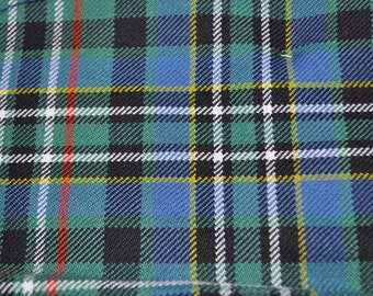 Scott Tartan Fabric. 100% 10oz Pure New Wool.  Remnant Piece. Scott Green Ancient, Weathered or Modern and Scott Hunting Modern available