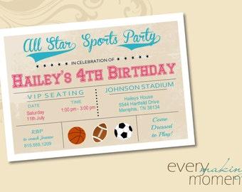 Girl Sports Birthday Party Invitation -- Girl Birthday Invitation -- custom, digital, personalized, printable birthday invite