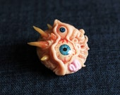 Disgusting and Scary Horror Brooch. Two Eyed.