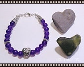 Russian Amethyst Gemstone with LOVE Charm Bead Bracelet