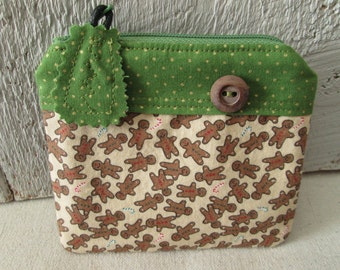 Gingerbread Men Pouch Zippered Christmas Holidays Change purse