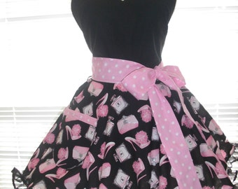 Retro Pinup Style Apron  Girly Silver Bling, Black and Pink Retro Look Fabric Paired with Pink and White Retro Dots Flirty Circular Skirt