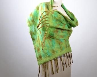Merino Wool Felted Scarf - Nuno Felted Scarf - Felted Scarf - Wool Silk Scarf - Spring Scarf - Women's Scarves