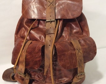 Leather  Backpack,Ladies Rucksack with Lots of Pockets and Re-enforced Bottom - Great Gift