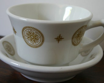 Shenango Nautical Cup and Saucer Coffee Tea Cup Compass Design Restaurant Ware Old Vintage China G-26