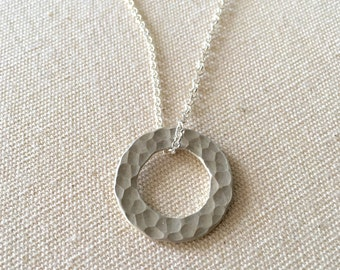 "Hammered Sterling Silver Hoop Pendant Necklace 16"" Length"
