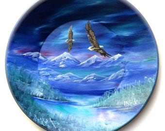 Hand Painted 11 Inch Gold Pans Mountain Northern Lights Winter Eagles