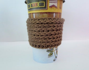 Brown & Gray Coffee Cozy, Ready to Ship, Crochet Coffee Sleeve, Knit Cup Cozy, Reusable cup sleeve Simple Cozies