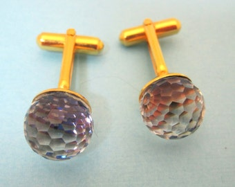 Vintage Gold Tone Cufflink Cuff Links Crystal Ball NICE!!  DA