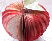 A Book Apple for the Teacher. OOAK Hand Sculpted Book Apple. Altered Book Art. Red Snow White Apple. Autumn Fall Decor. Table Center Piece.