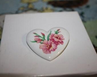 Avon Pink Gladiola Ceramic Heart Pin, Vintage