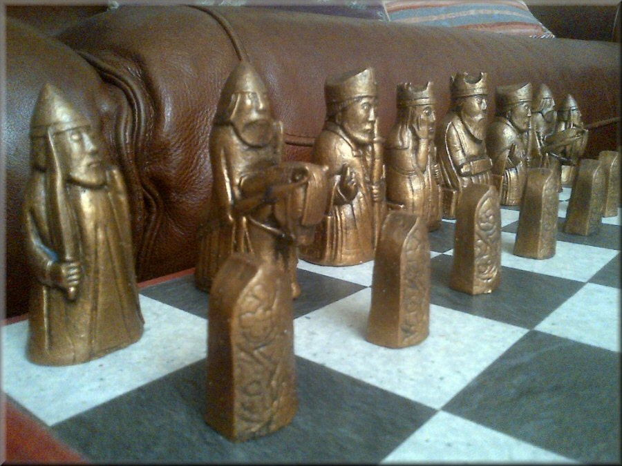 Isle of lewis chess set antique bronze and aged pewter - Lewis chessmen set ...