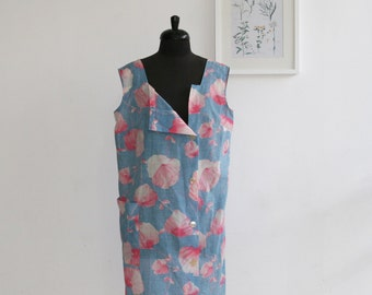 SALE / Blue floral dress size XL /Light  Blue Floral Print / Plus size / Vintage Sleepwear Pajama