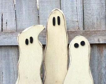 Halloween Decor Glow-in-the-Dark Chunky Wood Ghost Trio Antiqued, Halloween Wood Glow-in-the-Dark Ghost Trio