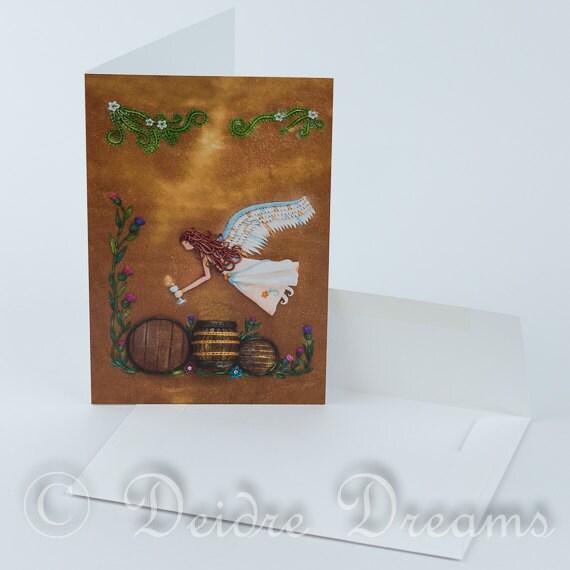 Angel Card, Blank Note Card, Greeting Card, Greetings Card, Holiday Card, Xmas Card, Yule Card, The Angels Share, Angel Wall Art Angel Decor
