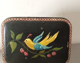 Antique Hand Painted TolewareTin / Vintage Tole  Tin / Bird on a Branch Toleware  Tin