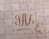 100 pcs Custom Wedding Guest Book Puzzle -Guest Book Alternative - Initials and Date