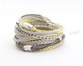 Yellow Boho Bracelet, Gray Silver Wrap Bracelet, Yellow Gray Silver Bracelet, Bohemian Jewelry, Boho bracelet, suede, double wrap, boho chic