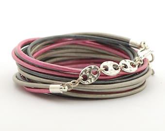 Autumn Bracelet, Metallic Pink Boho Hippie Bracelet, Silver Gray Rose Wrap Bracelet, Halloween Bracelet, Minimalist Bracelet, halloween gift