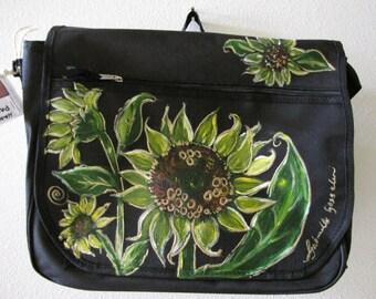 Sunflowers bag Hand painted messenger bag