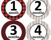 Baby Monthly Milestone Growth Stickers Red Black Buffalo Plaid Birch Trees Rustic Nursery Theme MS907 Baby Shower Gift Baby Photo Props