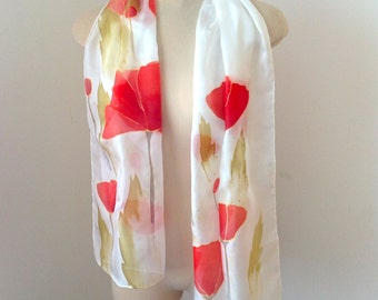 Hand painted poppie silk scarf, Red Poppies Scarf, Andreasilk