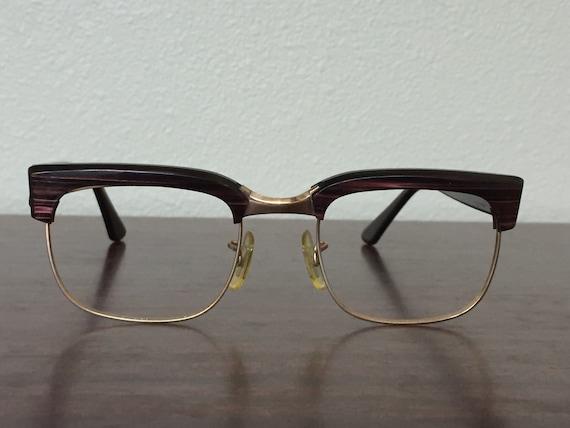 Vintage Mens Eye Glasses 1950s Lucite Woodgrain by ...
