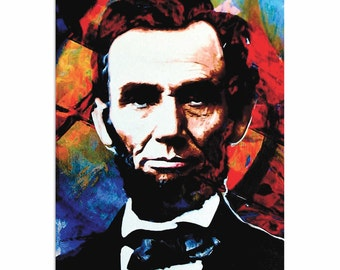 Pop Art 'Abraham Lincoln Knowing Lincoln' by Artist Mark Lewis, Colorful Abe Lincoln Painting Limited Edition Giclee Print on Metal/Acrylic