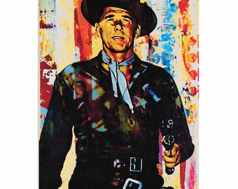 Pop Art 'Ronald Reagan Generation Extinction' by Artist Mark Lewis, Patriotic Cowboy Painting Limited Edition Giclee Print on Metal/Acrylic