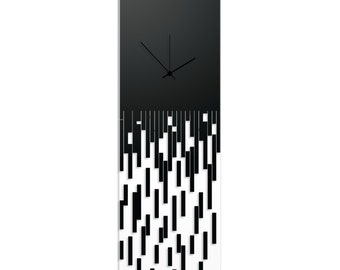 Surreal Wall Clock 'Black Pixelated Clock' by Adam Schwoeppe - Techy Style Decor Abstract Accent Piece on Acrylic
