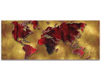 Eclectic World Map 'Golden World' by Megan Duncanson - Modern Map Art Gold Decor on Metal or Acrylic