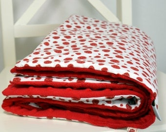 Baby Blanket- Minky Baby Blanket - Strawberry Baby Blanket -  Red, White - ready to ship!