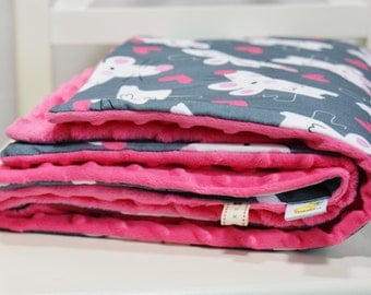 Baby Blanket- Minky Baby Blanket - Mouse in Love Baby Blanket - Fuchsia, Grey, White, Hot Pink- ready to ship!