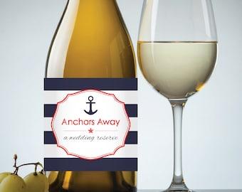 "Wedding ""Anchors Away"" Printable Wedding Wine Label in Navy Nautical Stripe - Instant Download PDF"