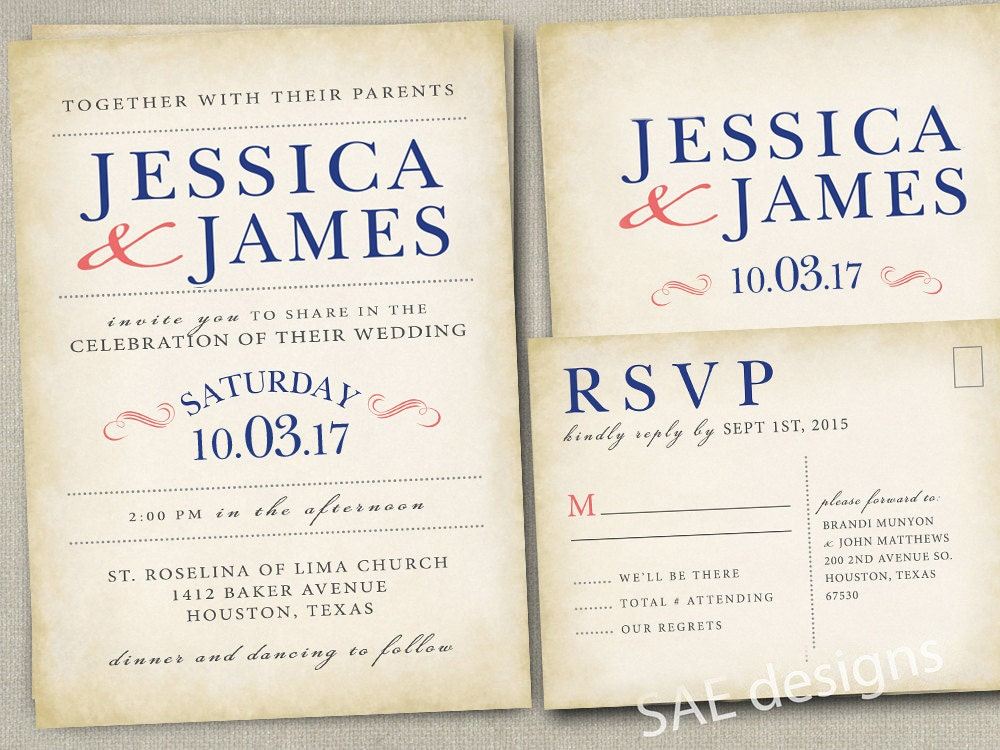 Wedding Invitations With Rsvp Postcards: Navy Coral Wedding Invitation / RSVP Set Postcards